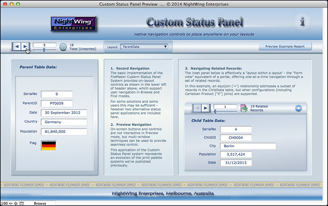 NightWing Enterprises - Custom Status Panel for FileMaker